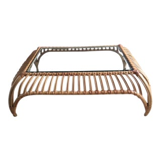 Sculptural Vintage Rattan and Glass Coffee Table in the Manner of Franco Albini