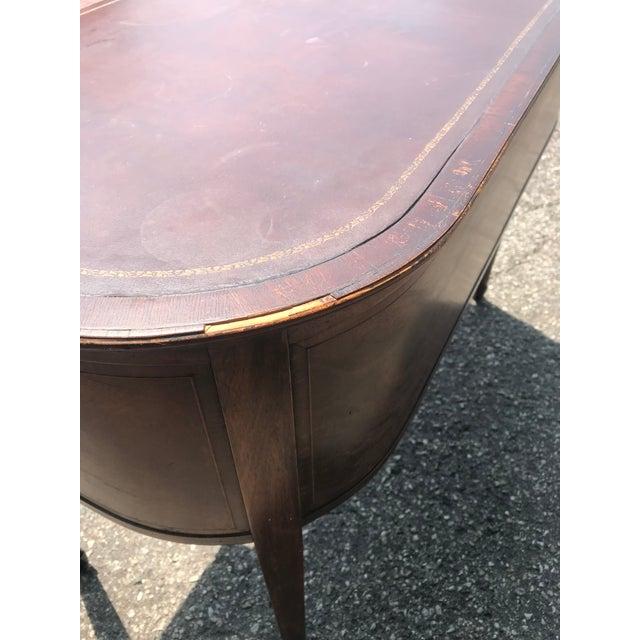 Barrel Back Walnut Desk With Leather Top Made by Baker Furniture For Sale - Image 6 of 11