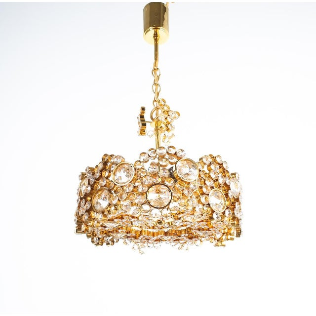 Palwa Crystal Glass Gold-Plated Brass Chandelier Refurbished Lamp For Sale - Image 12 of 12