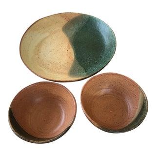 Vintage Studio Pottery Bowls - Set of 3 For Sale
