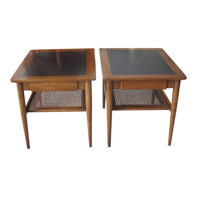 A Pair Of American Martinsville Occasional Tables With Caned Shelf For