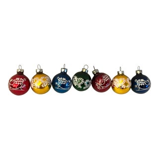 Vintage Mid Century Glass Holiday Ball Ornaments- Set of 7 For Sale
