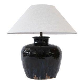 Black Glazed Terracotta Table Lamp For Sale