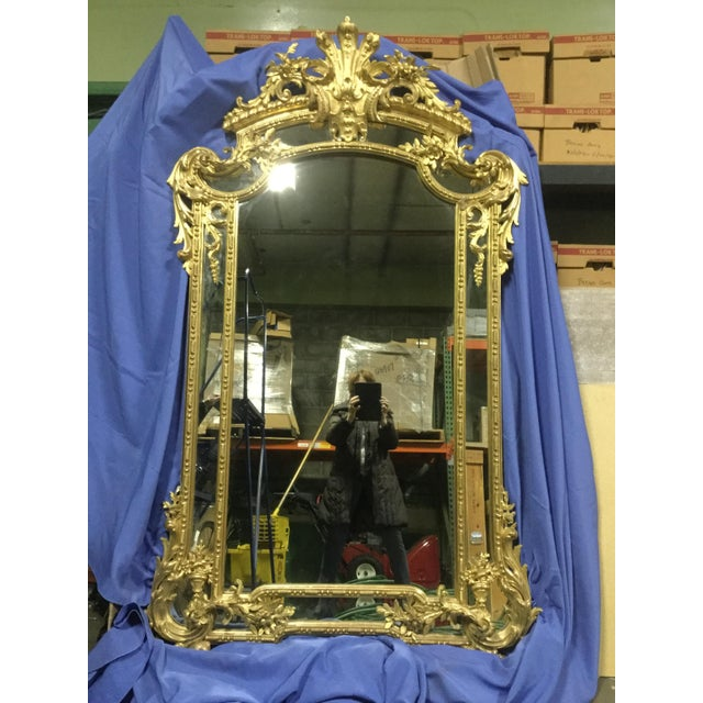 Wood 6 ' Tall French 19th C. Gilt Mirror For Sale - Image 7 of 10
