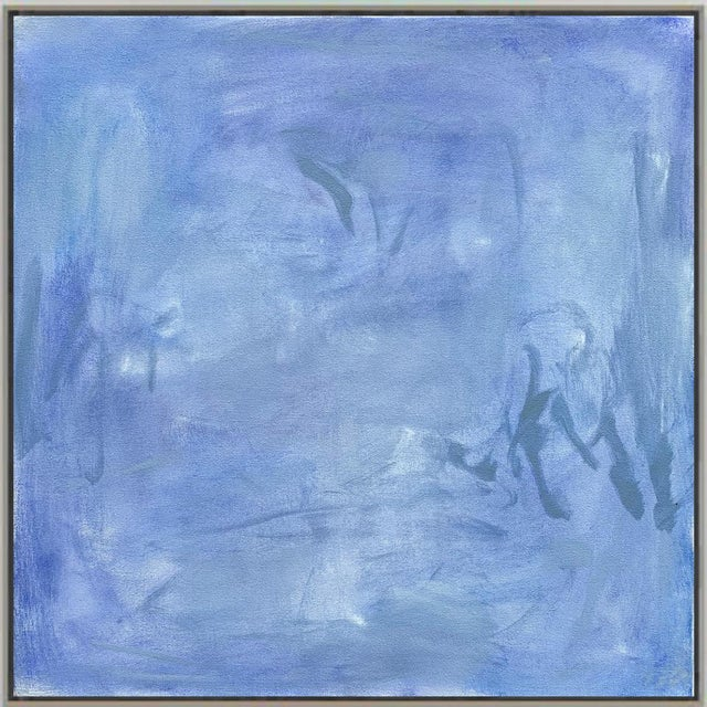 """""""Blue Zen"""" by Trixie Pitts Abstract Oil Painting For Sale - Image 10 of 13"""