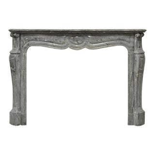 A Pair Of Grey Marble Louis XV Fireplace Mantels, 19th Century For Sale