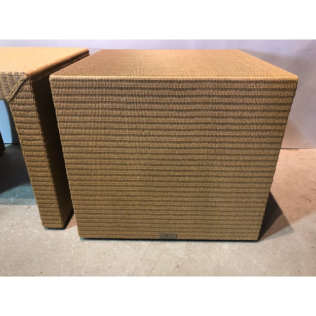 Early 21st Century Janus Et Cie Wicker Tables - a Pair For Sale - Image 5 of 7