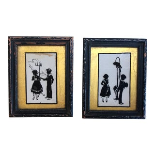 Antique Petite Hand Painted Silhouettes - a Pair For Sale