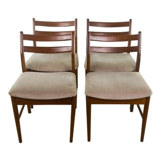 Danish Mid-Century Modern Gray Upholstery & Wooden Chairs - Set of 4