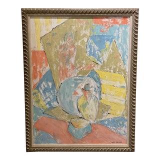 Pastel Still Life Framed Painting, Signed For Sale