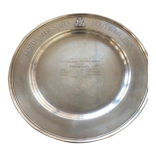 Sterling Silver Horse Racing Trophy Plate Featuring Hall of Fame Jockey Johnny Longden For Sale