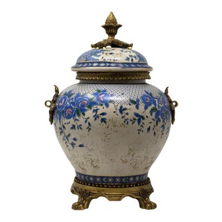 Antique Hand-Painted Antique Urn For Sale
