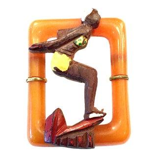 "1930's Art Deco Bakelite & Wood Figural ""Diver Girl"" Brooch Pin For Sale"