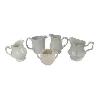 Vintage English White Pitchers-5 Pieces For Sale
