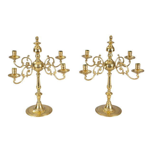 Antique English Brass Candelabra, Pair For Sale