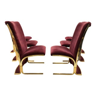 1970s Vintage Milo Baughman Modern Hollywood Regency Brass Cantilever Dining Chairs - Set of 6 For Sale
