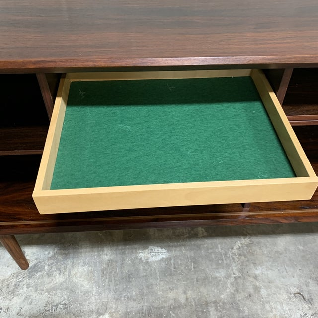 Wood Mid Century Rosewood Credenza Tambour Doors For Sale - Image 7 of 13
