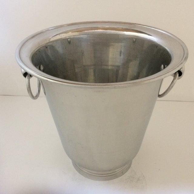 Vintage Polished Aluminum Drop Bail Knob Handled Ice Bucket For Sale - Image 9 of 9