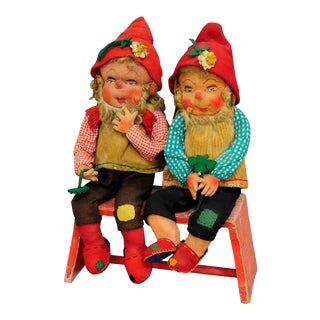 A Pair Of Whimsical Handmade Felt Gnomes, Germany Ca. 1930 For Sale