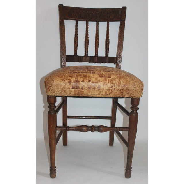 19th Century Handmade English Chess Carved Chair For Sale In Los Angeles - Image 6 of 10