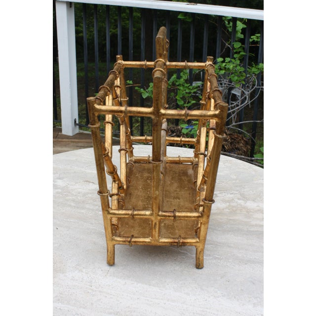 Gilt Faux Bamboo Chinoiserie Style Magazine Rack For Sale In Dallas - Image 6 of 11