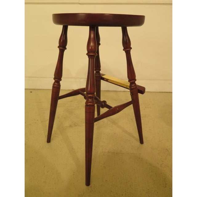 Frederick Duckloe Cherry Saddle Seat High Seat Bar Stools - Set of 3 For Sale - Image 4 of 11