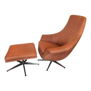 Mid Century Swivel Rocking Lounge Chair and Ottoman For Sale