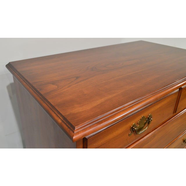 Brown Henkel Harris Vintage Solid Cherry Chippendale Style High Chest on Chest For Sale - Image 8 of 13