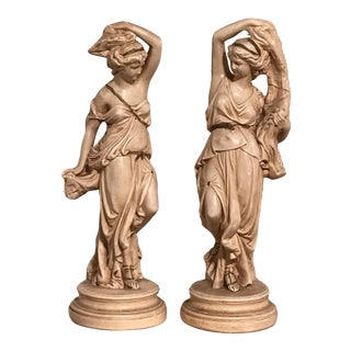 Early 19th Century Antique Roman / Greco Goddess Statues - a Pair For Sale