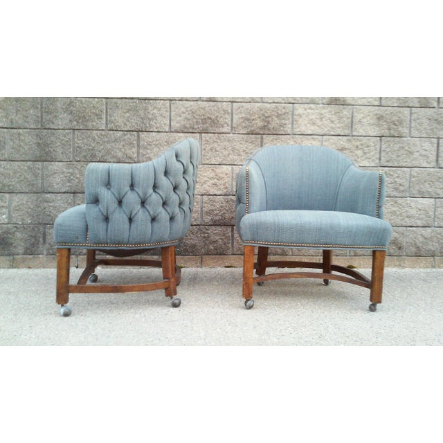 1960s Blue Tufted Club Chairs With Nail Head Trim-A Pair For Sale - Image 5 of 10