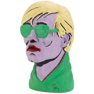 Jefferds Limited Edition American Polychromed Rubber Bust of Andy Warhol For Sale