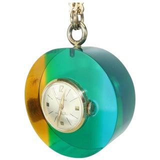Mod 1960's Vendome Lucite Acrylic Pendant Watch For Sale