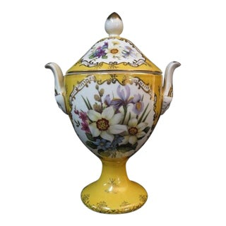 Chelsea House Paint Decorated Porcelain Vase With Lid For Sale