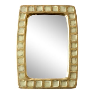 French Gold Ceramic and Fused Glass Mirror by Francois Lembo For Sale