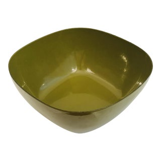 Vintage Cathrineholm Square Green Enamel Bowl For Sale
