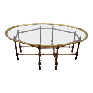 1970s Hollywood Regency Baker Faux Bamboo Brass Tray Coffee Table For Sale