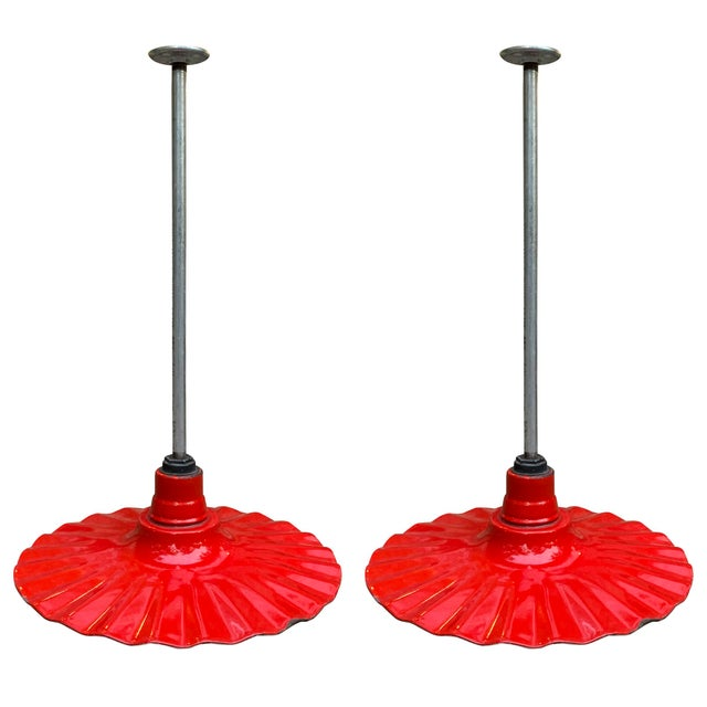 Pair of Early 20th Century American Industrial Ruffled Pendant Lights For Sale - Image 13 of 13