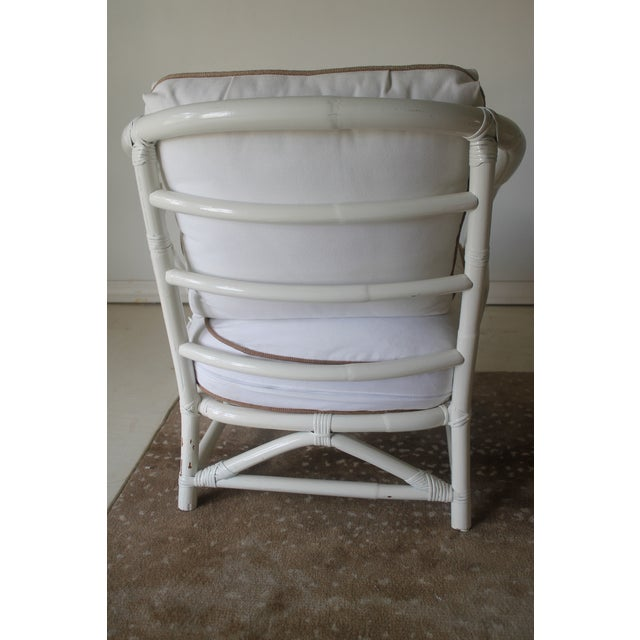Primitive Vintage Mid Century White Bamboo Chairs - a Pair For Sale - Image 3 of 12