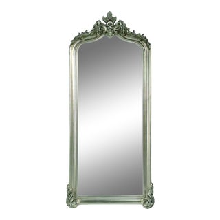 Blenheim Silver Arched Crown Full Length Floor Mirror For Sale