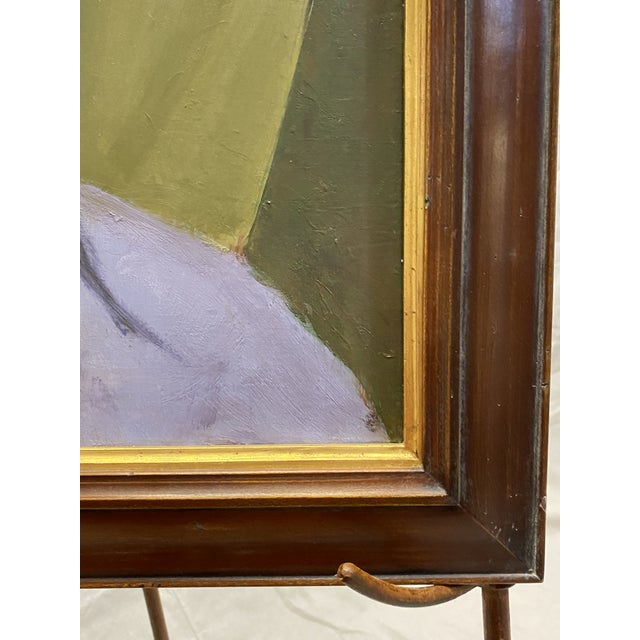 1950s Vintage Oil on Canvas Portrait of an African American Man Framed Painting For Sale - Image 5 of 8