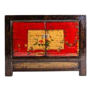 Chinese Painted Cabinet With Pair of Doors For Sale