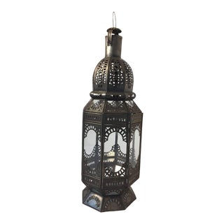 Moroccan Moorish Octagonal Metal and Glass Candle Lantern For Sale