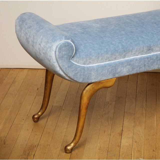 Italian Giltwood Bench in Blue Velvet For Sale - Image 11 of 13