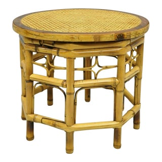 Vintage Mid Century Brighton Pavilion Style Bamboo & Cane Chinese Chippendale Round Tables For Sale