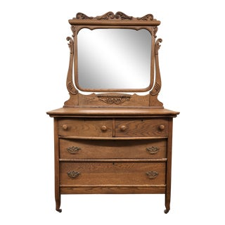 Vintage Art Nouveau Oak Dresser + Mirror Set For Sale