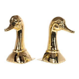 Vintage Sarreid Ltd. Solid Brass Duck Bookends - a Pair For Sale