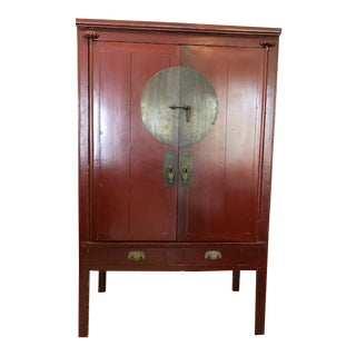 19th Century Chinese Red Lacquer Cabinet For Sale