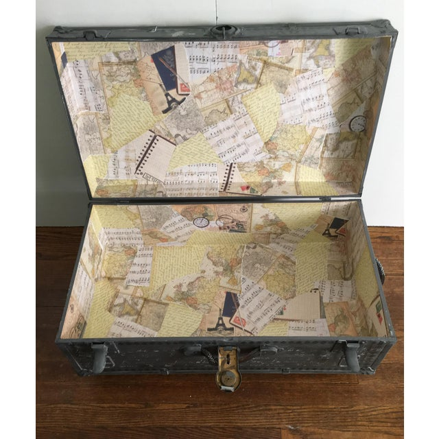French 1940s French Country Metal Trunk For Sale - Image 3 of 5