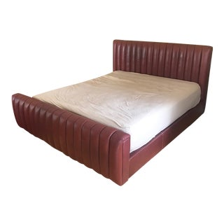 Ralph Lauren Burgundy Leather Bed For Sale