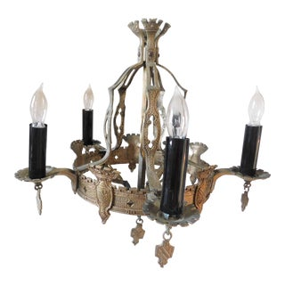 Antique Hammered Brass Ecclesiastical Chandelier For Sale